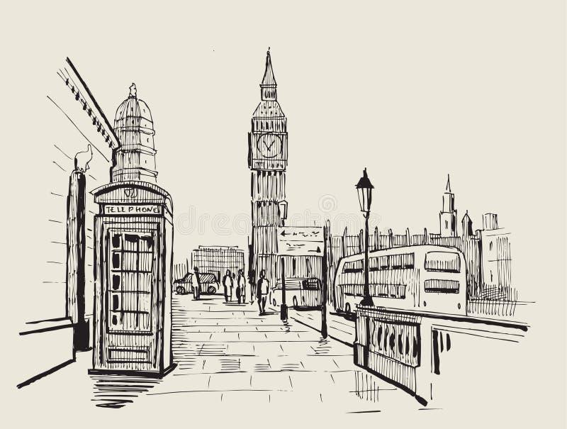 Wektorowy pociągany ręcznie Londyn royalty ilustracja