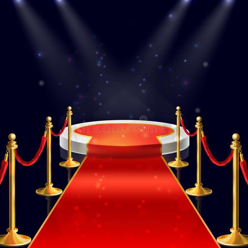 Wektorowy podium z czerwonym chodnikiem, arkany, kłonicy royalty ilustracja