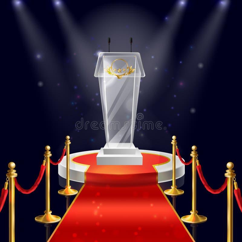 Wektorowy podium z szklaną trybuną dla mówić ilustracja wektor