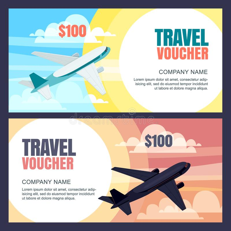 Wektorowy podróż alegata szablon Latający samolotu, dnia i nocy lot, Sztandar, talon, świadectwo, ulotka, biletowy układ royalty ilustracja