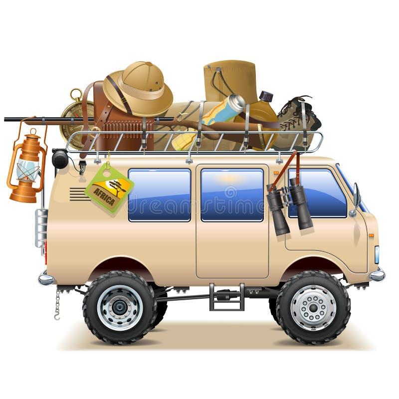 Wektorowy podróż samochód z safari akcesoriami