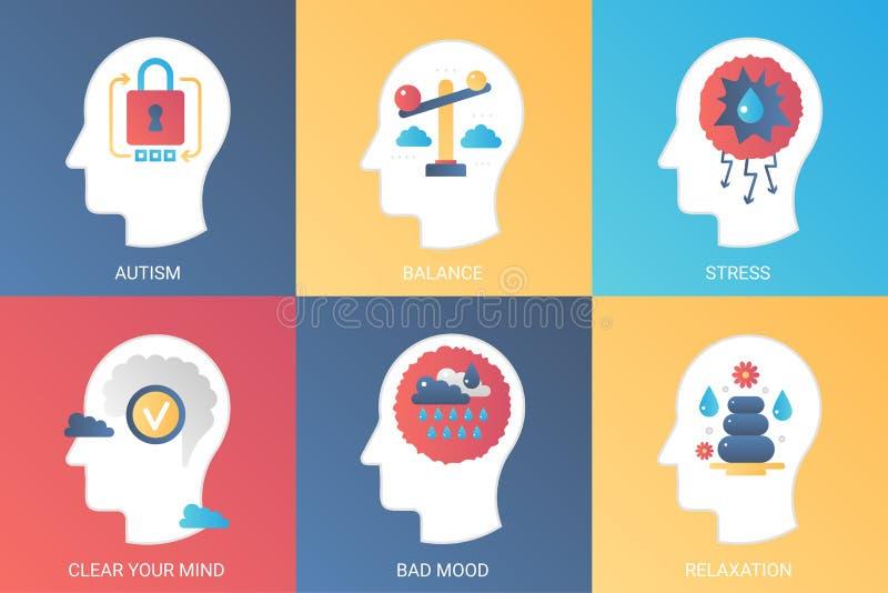 Wektorowy pojęcie autyzm, równowaga, stres, jasny umysł, zły trybowy relaks Nowożytny gradientowy mieszkanie styl royalty ilustracja