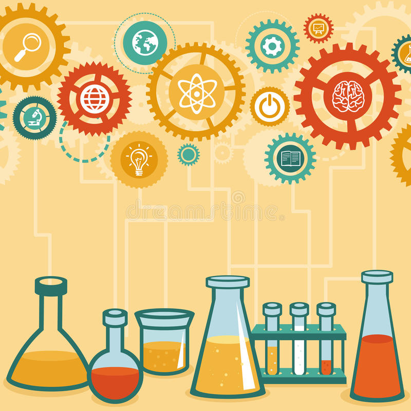 Wektorowy pojęcie - chemii i nauki badanie royalty ilustracja