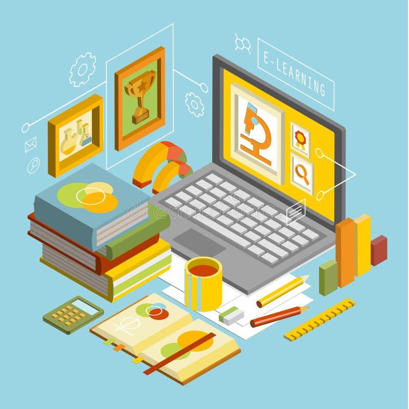 Wektorowy pojęcie dla Online edukaci Mieszkanie 3d ilustracji