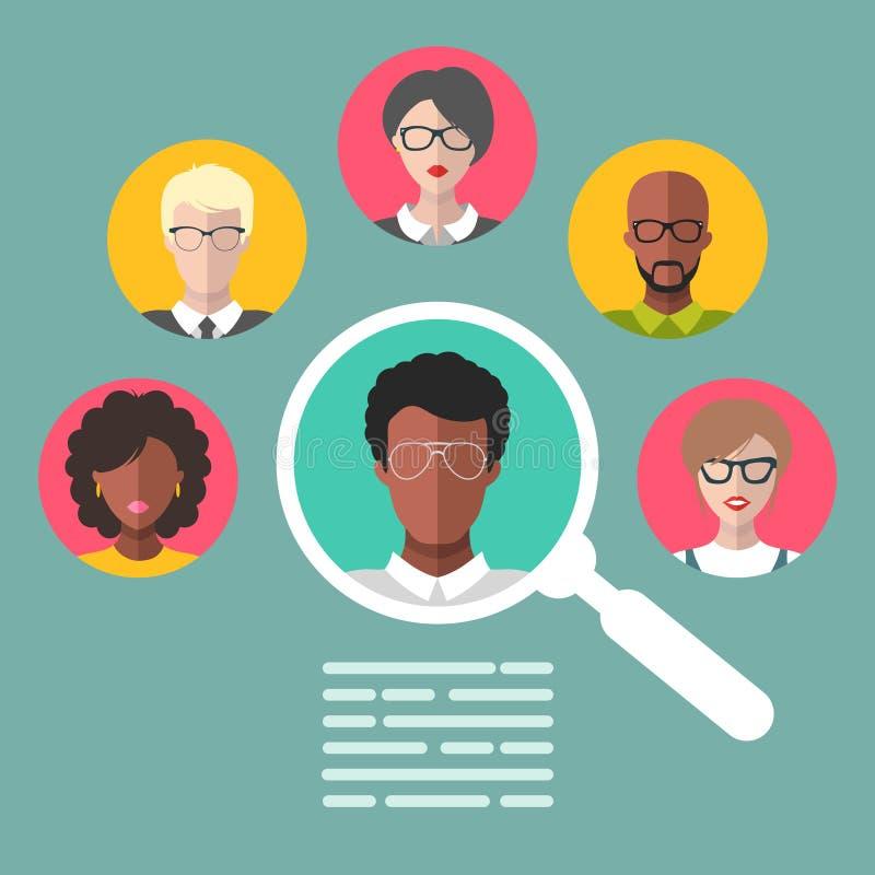 Wektorowy pojęcie działu zasobów ludzkich zarządzanie, fachowego personelu badanie, kierownicza myśliwy praca z powiększać - szkł ilustracji