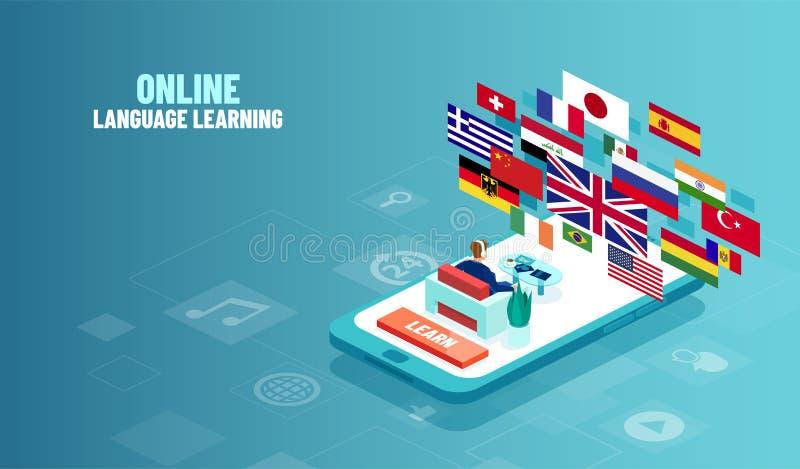 Wektorowy pojęcie język obcy online nauka ilustracja wektor