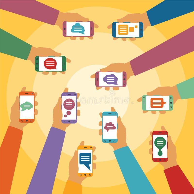 Wektorowy pojęcie mobilna natychmiastowa goniec gadka z ręk smartphones i podręcznymi dialog pudełkami royalty ilustracja