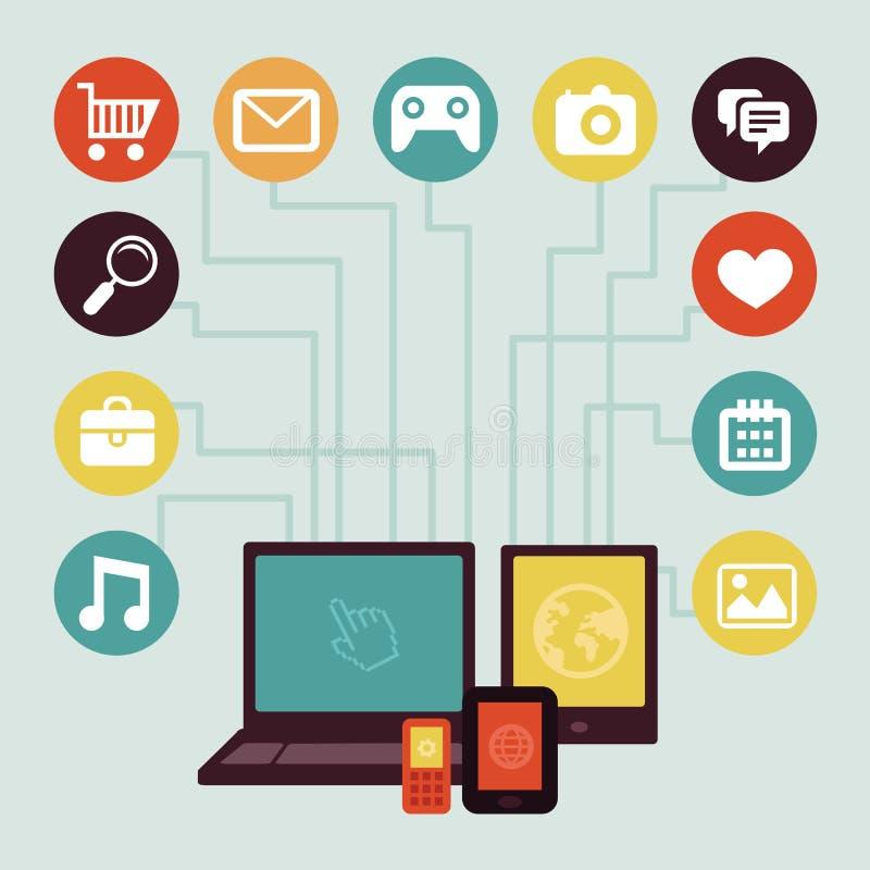 Wektorowy pojęcie - mobilny app infographics ilustracja wektor