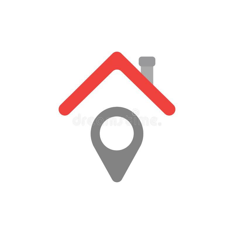 Wektorowy pojęcie pointer pod domu dachu ikoną na bielu z fl ilustracja wektor
