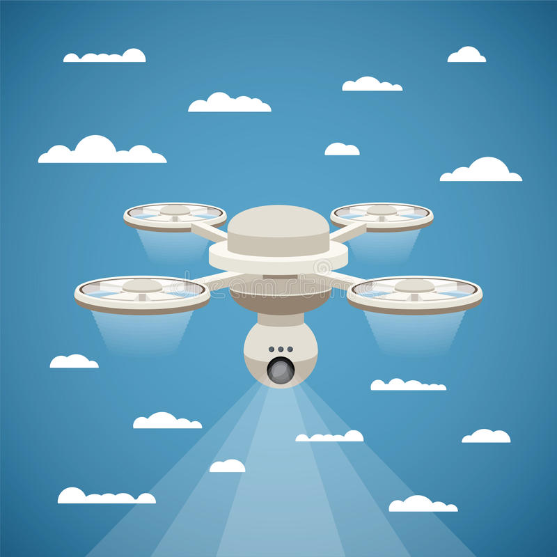 Wektorowy pojęcie quadcopter powietrza truteń z wideo krzywka royalty ilustracja
