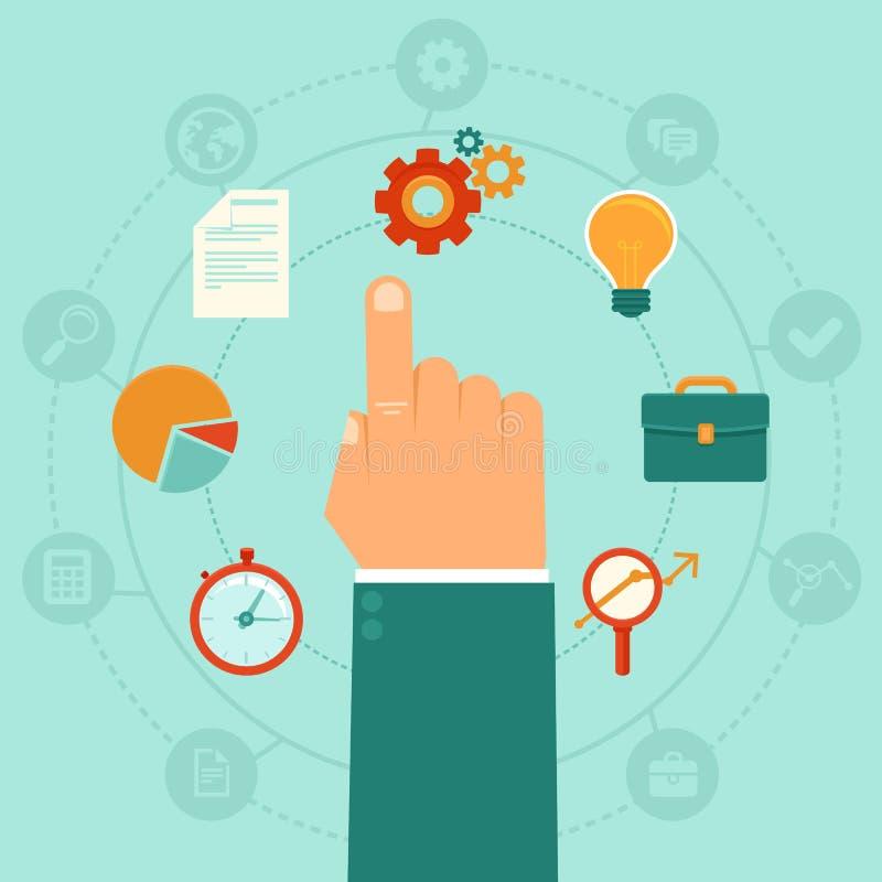 Wektorowy pojęcie - zarządzanie przedsiębiorstwem ilustracji