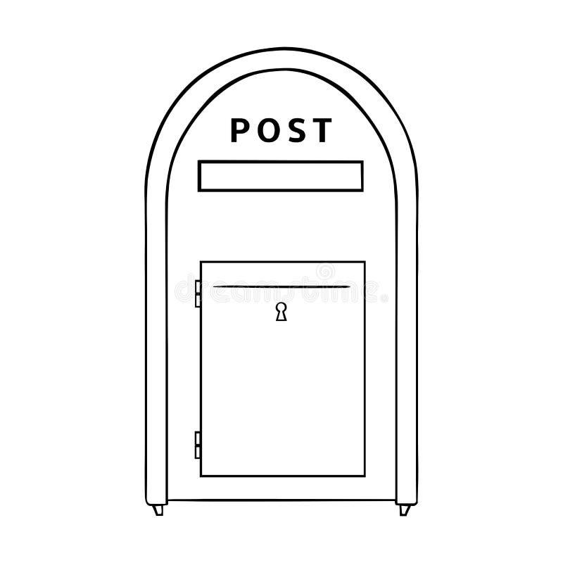 Wektorowy Pojedynczy Kreskowej sztuki ulicy Postbox ilustracja wektor