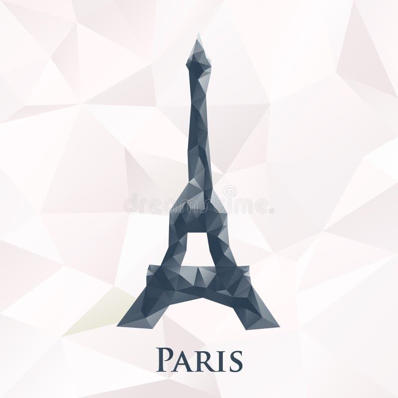 Wektorowy poligonalny Paris wieży eifla symbol ilustracji