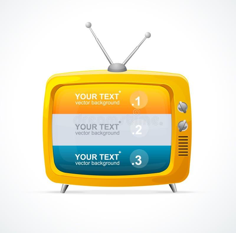 Wektorowy pomarańcze TV puste miejsce i opcja sztandar 123 royalty ilustracja
