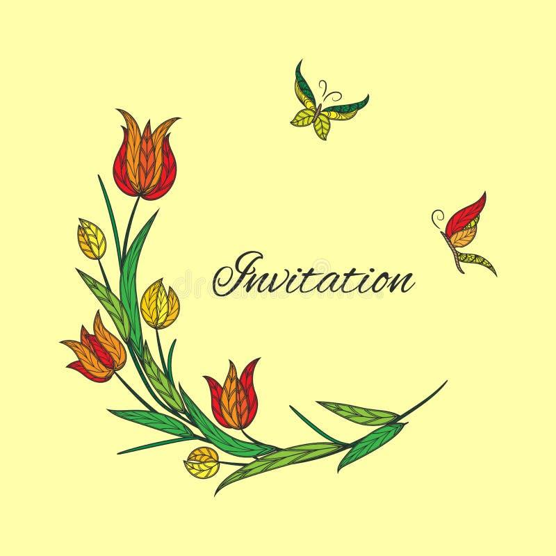 Wektorowy pomarańczowy tulipanowy zaproszenie z motylem royalty ilustracja