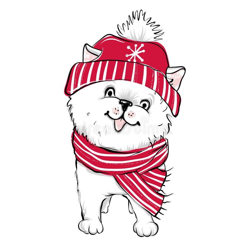Wektorowy Pomorski Spitz szczeniak zwierząt kreskówka rysujący ręka odizolowywający wektorowy biel Moda pies w s ilustracja wektor