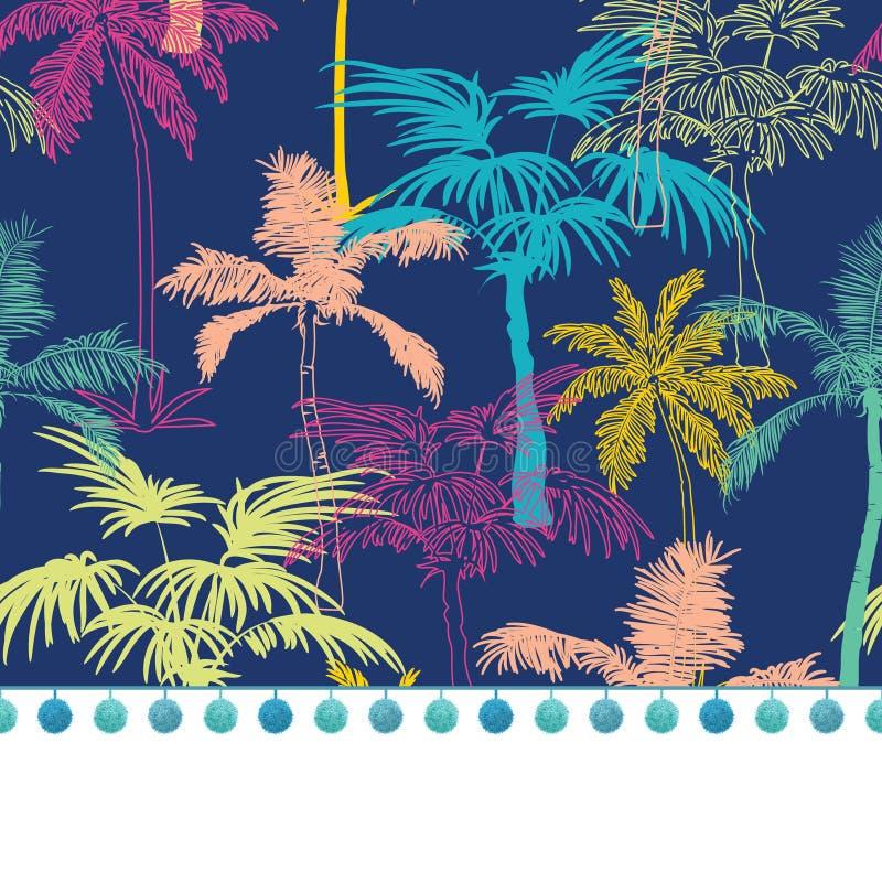 Wektorowy pompon granicy podstrzyżenie Na zmroku - błękitni Kolorowi Geometryczni drzewka palmowe ilustracji