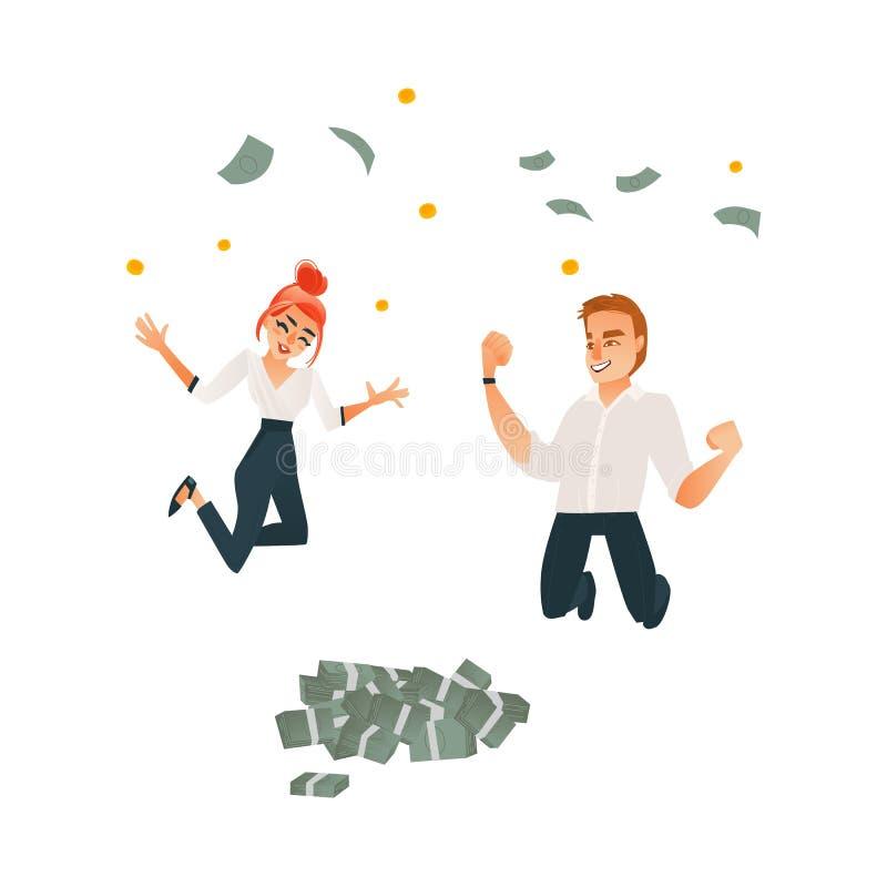 Wektorowy pomyślny biurowy mężczyzna, kobieta pod pieniądze royalty ilustracja