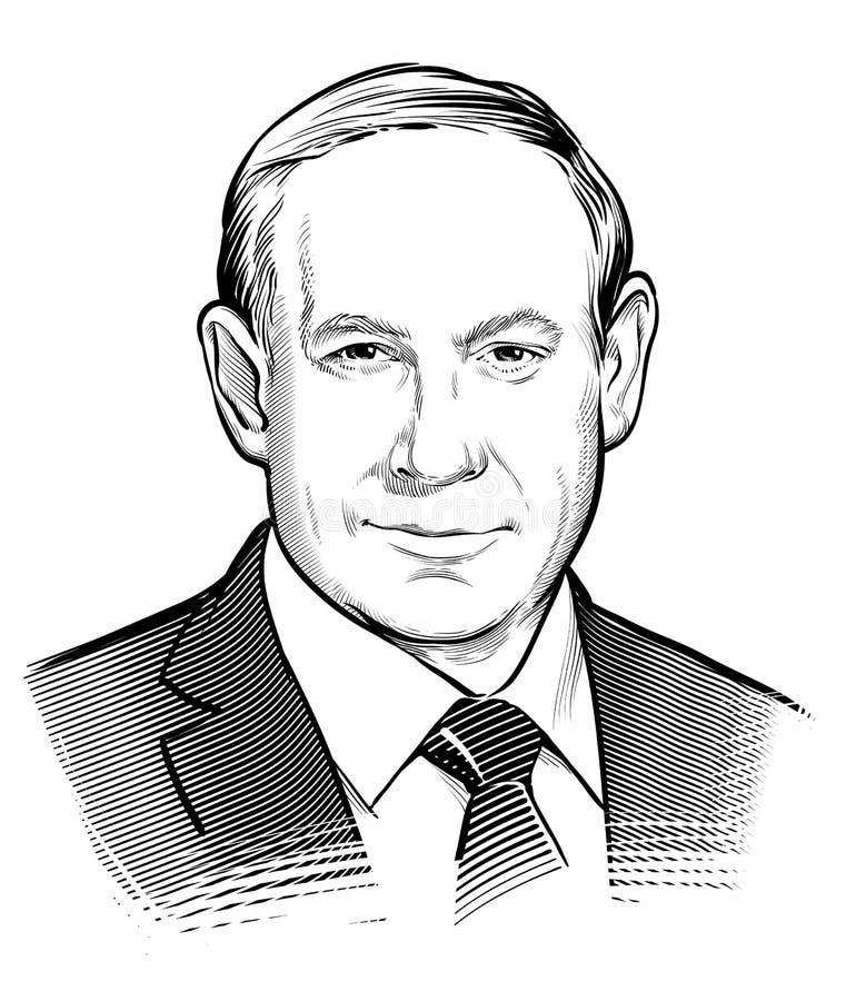 04 01 2018 Wektorowy portret Benjamin Netanyahu Pierwszorzędny minister Izrael 2009 amerykańskiego auto odwracalnego Detroit reda ilustracji