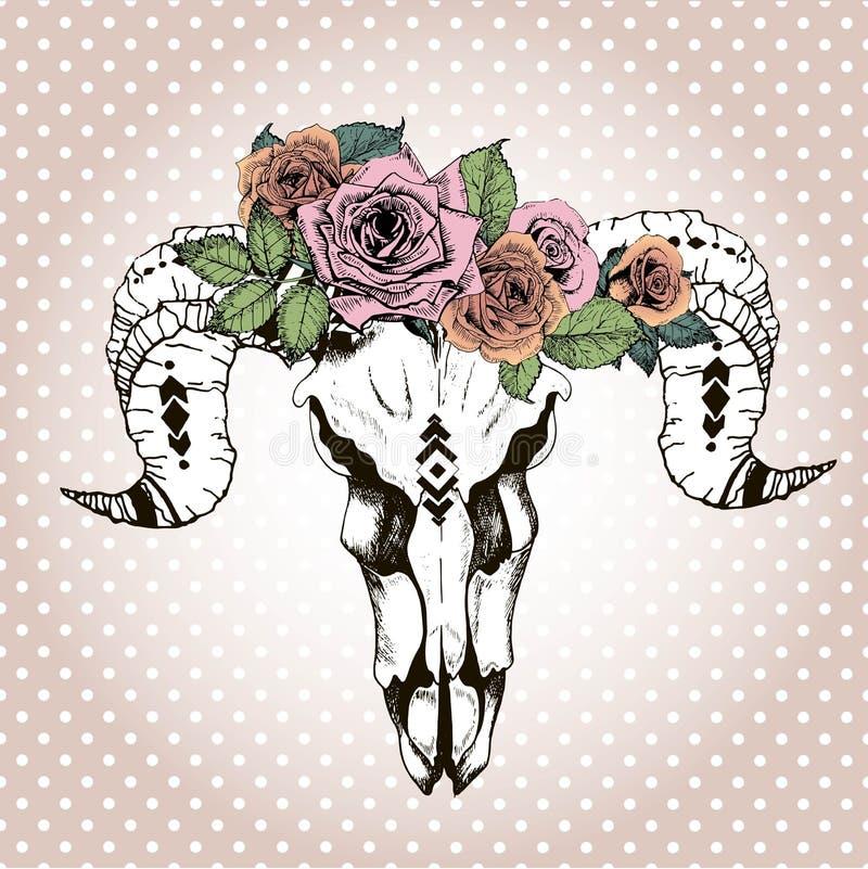 Wektorowy portret jest ubranym kwiecistą koronę zwierzęca czaszka Rocznik grawerująca stylowa kolor ilustracja ilustracji