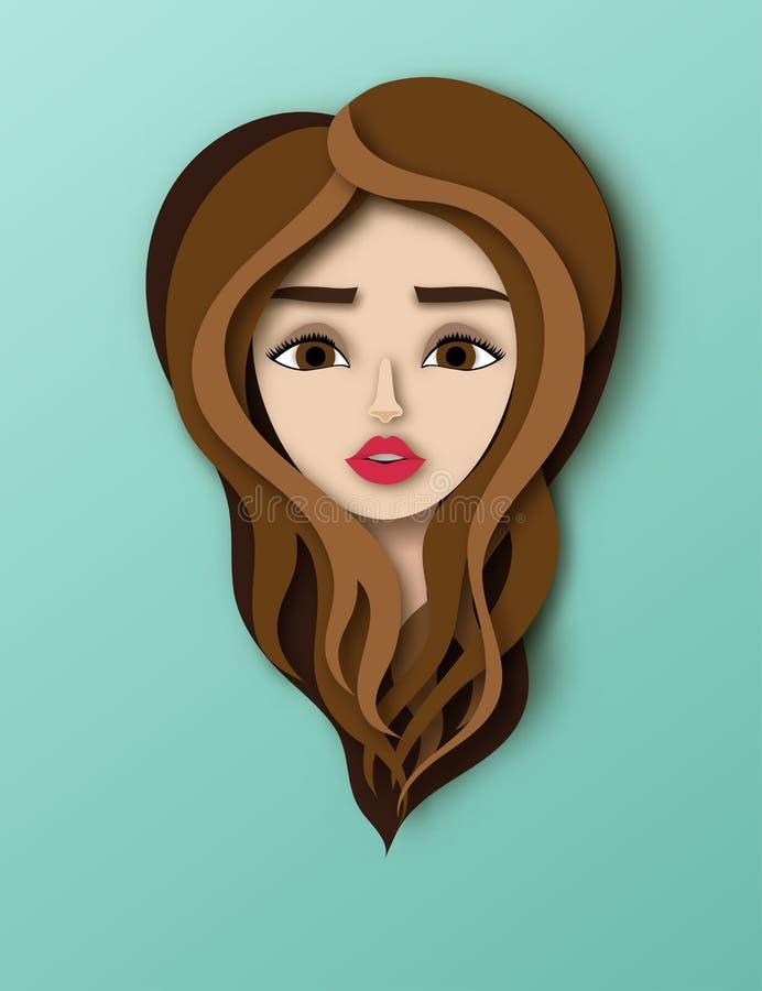 Wektorowy portret młoda piękna kobieta z długie włosy ilustracji