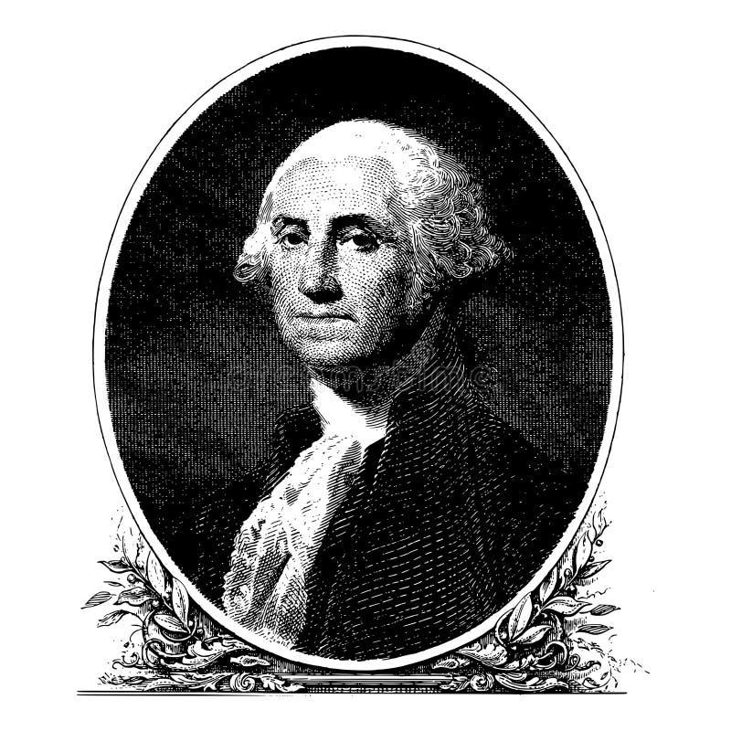Wektorowy portret pierwszy prezydent stanów zjednoczonych George Washington ilustracja wektor