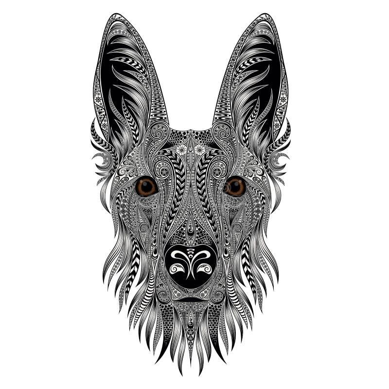 Wektorowy portret pies od różnorodność wzorów ilustracji