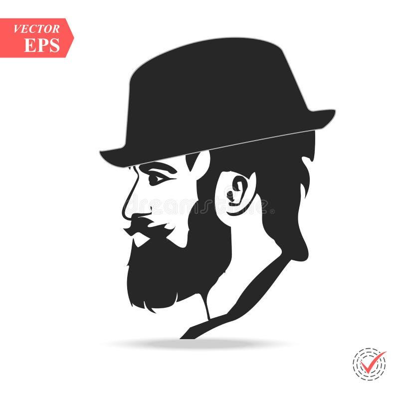 Wektorowy portret poważny brodaty mężczyzna jest ubranym kapeluszowy patrzeć daleko od ilustracja wektor