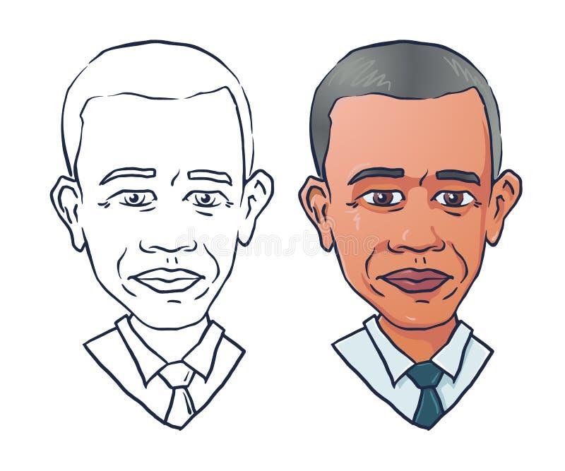 Wektorowy portret prezydent Barack Obama ilustracji