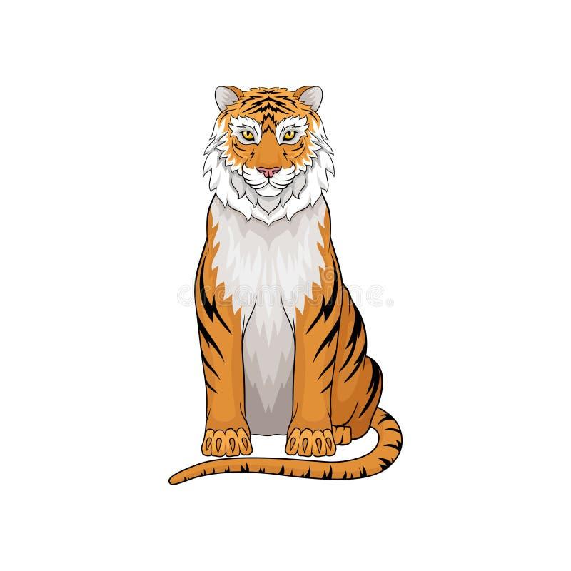 Wektorowy portret siedzący tygrys Dziki drapieżczy zwierzę Wielki kot z pomarańczowymi lampasami, duzi pazury, i tęsk ilustracja wektor