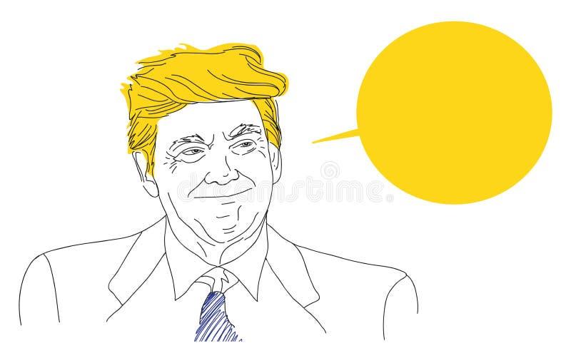 Wektorowy portret uśmiechnięty Donald Atutowy, nakreślenie, mowa, bąbel, ręka rysująca, cyny linia USA wybór prezydenci royalty ilustracja