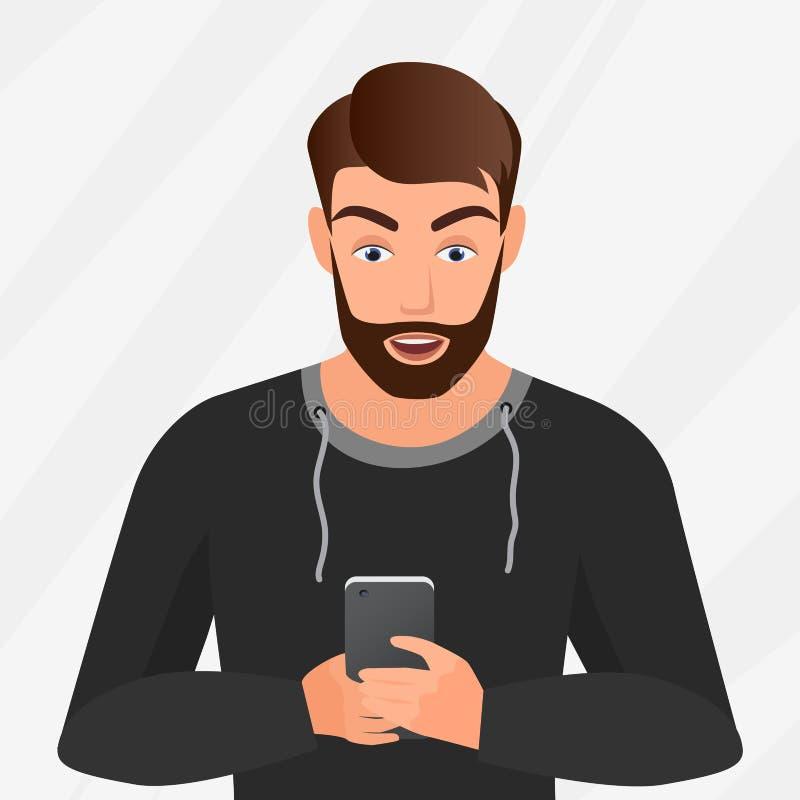 Wektorowy portret zdziwiony przystojny młody człowiek z telefonem komórkowym royalty ilustracja