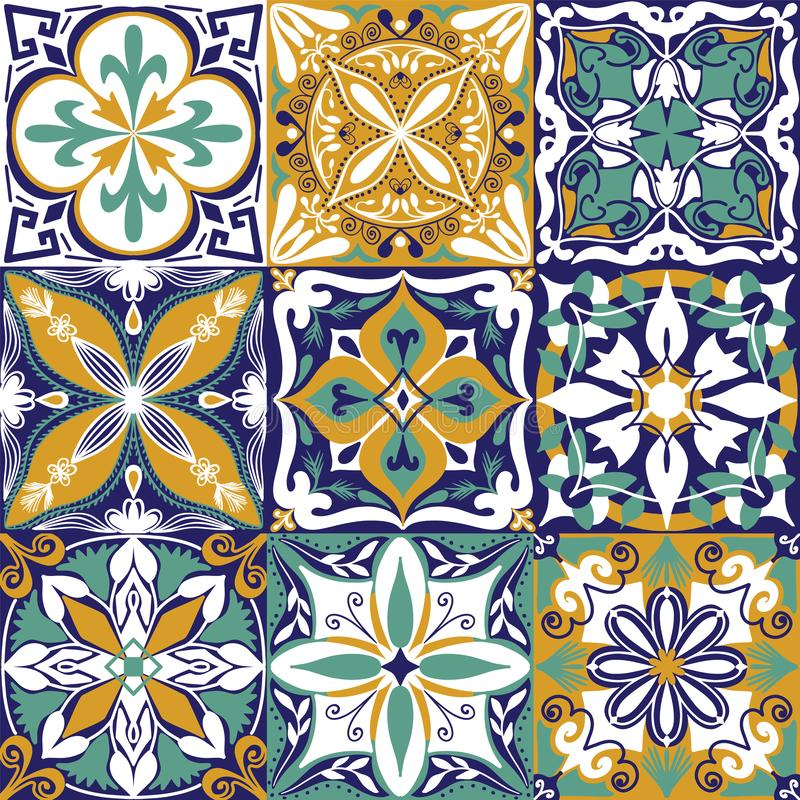 Wektorowy portugalczyk Azulejo Tafluje Bezszwowego Deseniowego t?o ilustracja wektor
