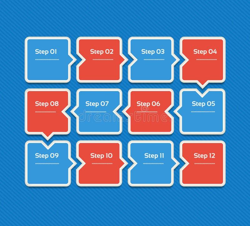 Wektorowy postępu tło Szablon dla diagrama, wykresu, prezentaci i mapy, Biznesowy pojęcie z 12 opcjami, części, kroki ilustracja wektor