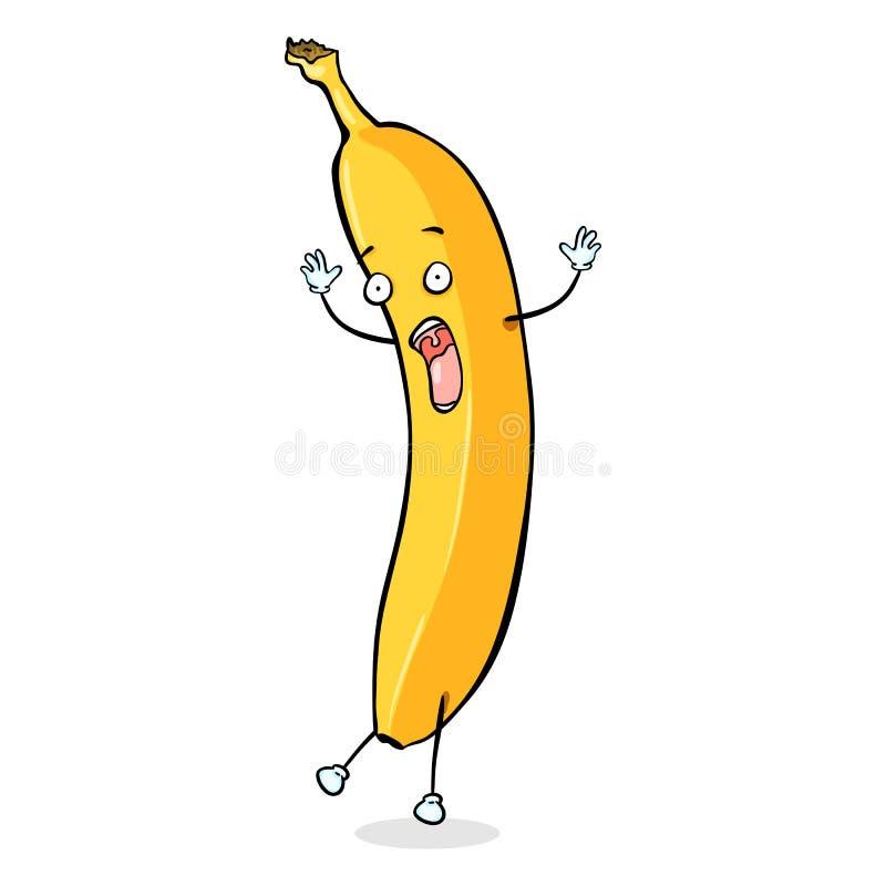 Wektorowy postać z kreskówki - Okaleczający banan royalty ilustracja