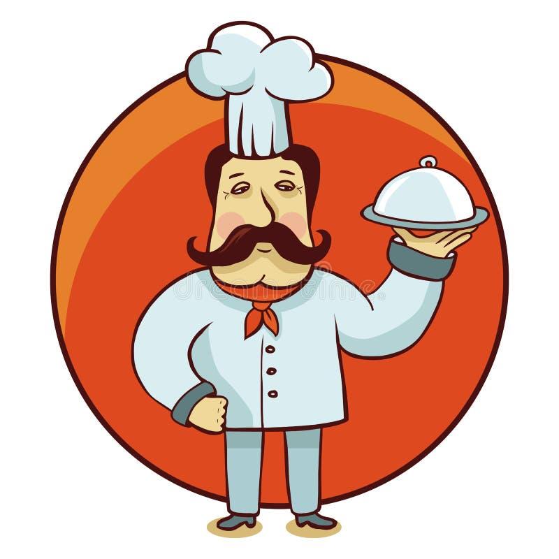 Wektorowy postać z kreskówki - szefa kuchni kucharz z talerzem royalty ilustracja