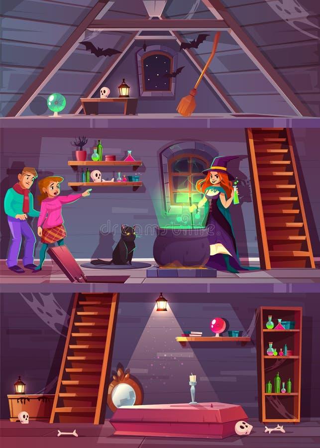 Wektorowy poszukiwanie gry tło Czarownica dom, gracze ilustracji