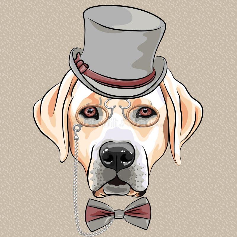Wektorowy poważny kreskówka modnisia psa Labrador Retriever traken ilustracja wektor
