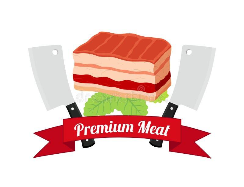 Wektorowy premii ilości mięso, grilla grilla ikona, bbq pojęcie Kreskówki mieszkania styl ilustracji
