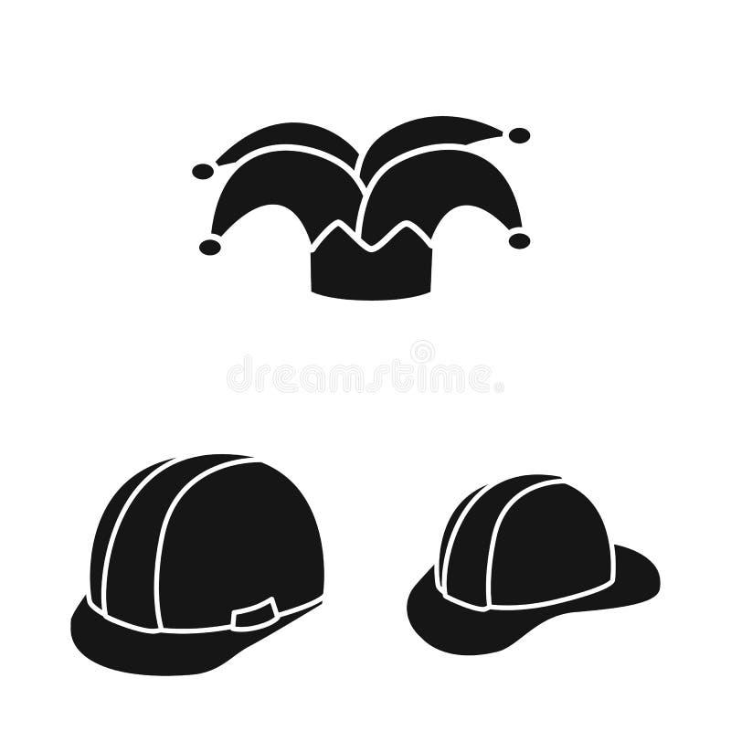 Wektorowy projekt beanie i bereta logo Set beanie i je?arki wektorowa ikona dla zapasu royalty ilustracja