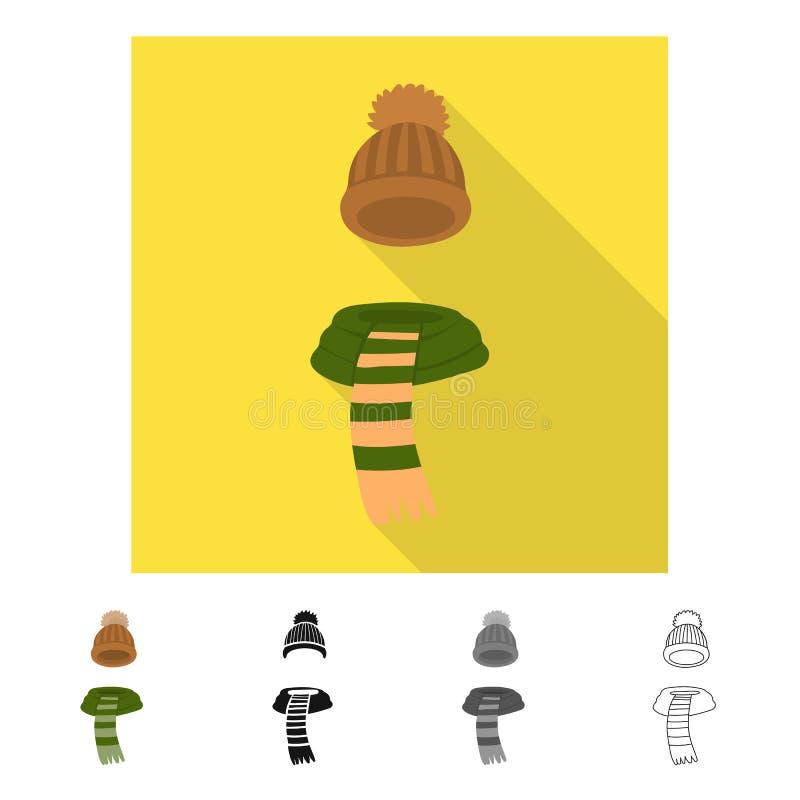 Wektorowy projekt beanie i szalika ikona Kolekcja beanie i nakrętki wektorowa ikona dla zapasu ilustracji