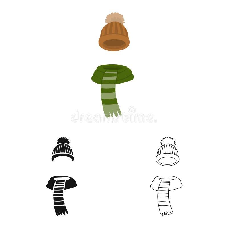 Wektorowy projekt beanie i szalika symbol Kolekcja beanie i nakr?tki wektorowa ikona dla zapasu ilustracja wektor