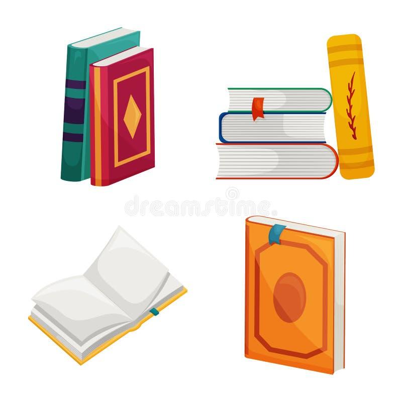Wektorowy projekt biblioteki i bookstore symbol Kolekcja biblioteki i literatury wektorowa ikona dla zapasu ilustracji