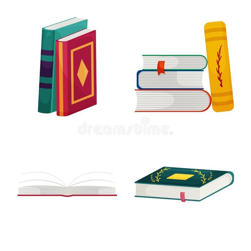 Wektorowy projekt biblioteki i bookstore znak Kolekcja biblioteki i literatury akcyjna wektorowa ilustracja ilustracji
