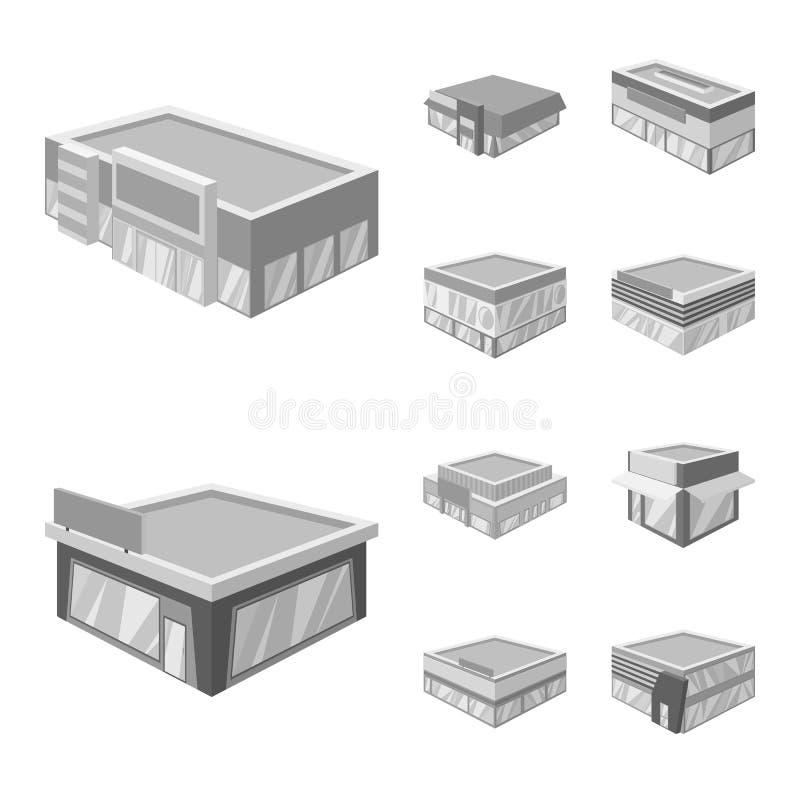 Wektorowy projekt budowy i gabloty wystawowej logo Kolekcja budowy i architektury akcyjny symbol dla sieci ilustracja wektor
