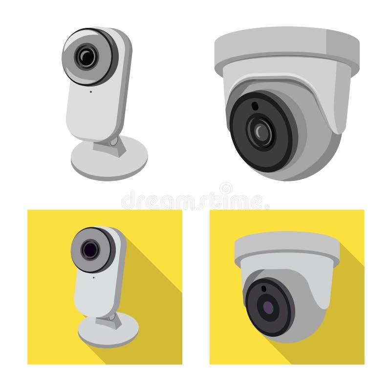 Wektorowy projekt cctv i kamery znak Kolekcja cctv i systemu wektorowa ikona dla zapasu ilustracji