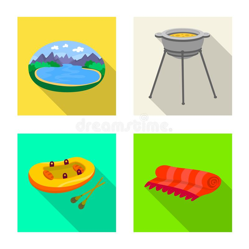 Wektorowy projekt cookout i przyrody ikona Set cookout i odpoczynku akcyjna wektorowa ilustracja ilustracja wektor