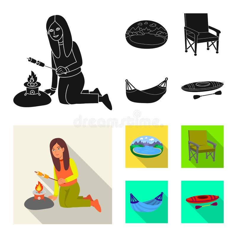 Wektorowy projekt cookout i przyrody logo Kolekcja cookout i odpoczynku wektorowa ikona dla zapasu royalty ilustracja