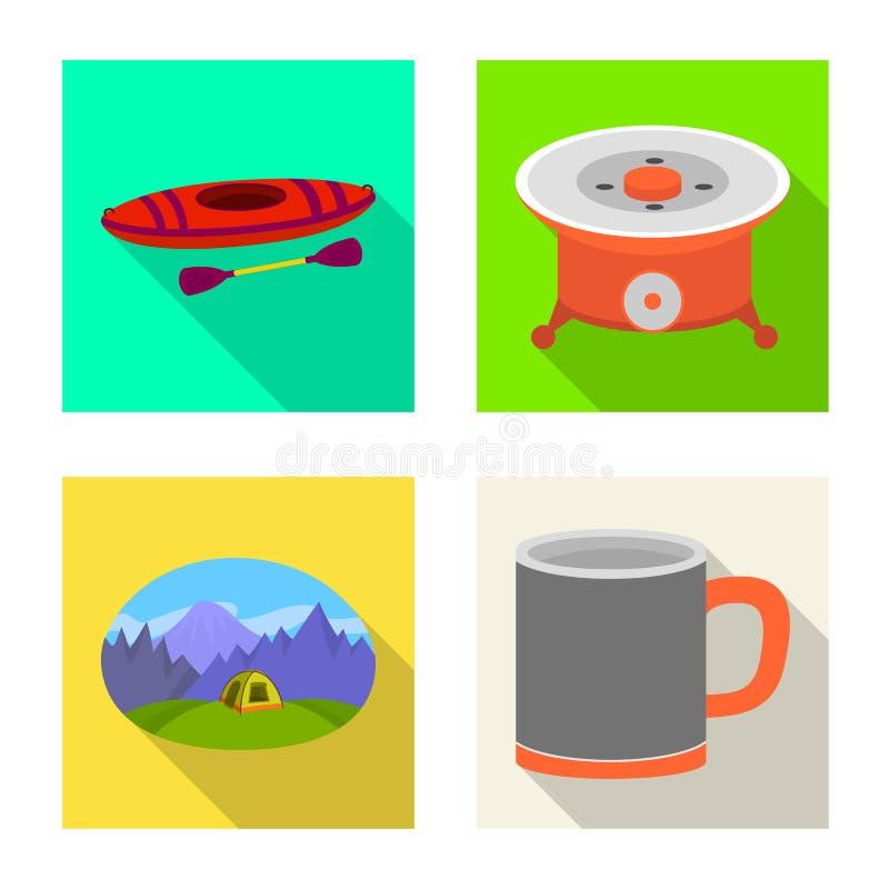Wektorowy projekt cookout i przyrody symbol Kolekcja cookout i odpoczynku wektorowa ikona dla zapasu ilustracji