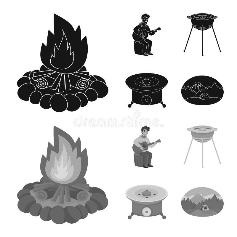 Wektorowy projekt cookout i przyrody symbol Set cookout i odpoczynku akcyjna wektorowa ilustracja royalty ilustracja